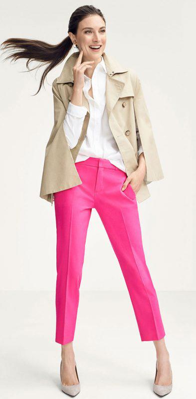 pink-magenta-slim-pants-white-collared-shirt-tan-jacket-coat-trench-pony-tan-shoe-pumps-howtowear-fall-winter-brun-work.jpg