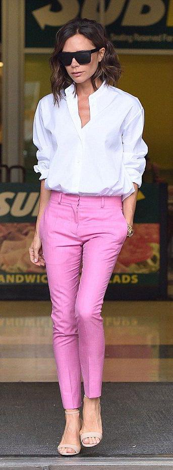 pink-magenta-slim-pants-white-collared-shirt-tan-shoe-sandalh-victoriabeckham-brun-spring-summer-lunch.jpg