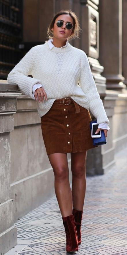camel-mini-skirt-white-sweater-white-collared-shirt-hairr-sun-cognac-shoe-booties-fall-winter-lunch.jpg