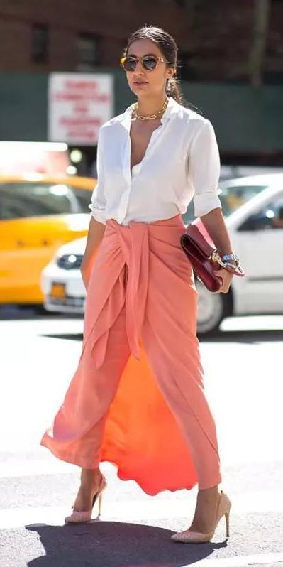 white-collared-shirt-hairr-sun-pony-red-bag-wrap-tan-shoe-pumps-peach-maxi-skirt-spring-summer-dinner.jpg
