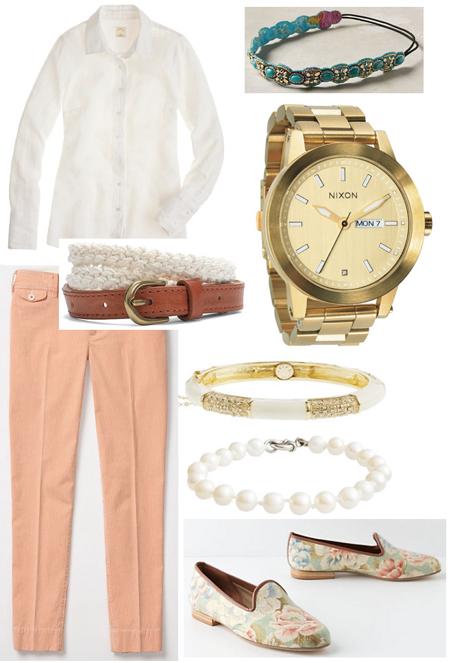 o-peach-slim-pants-white-collared-shirt-howtowear-fashion-style-outfit-spring-summer-belt-turquoise-bracelet-white-shoe-loafers-watch-work.jpg