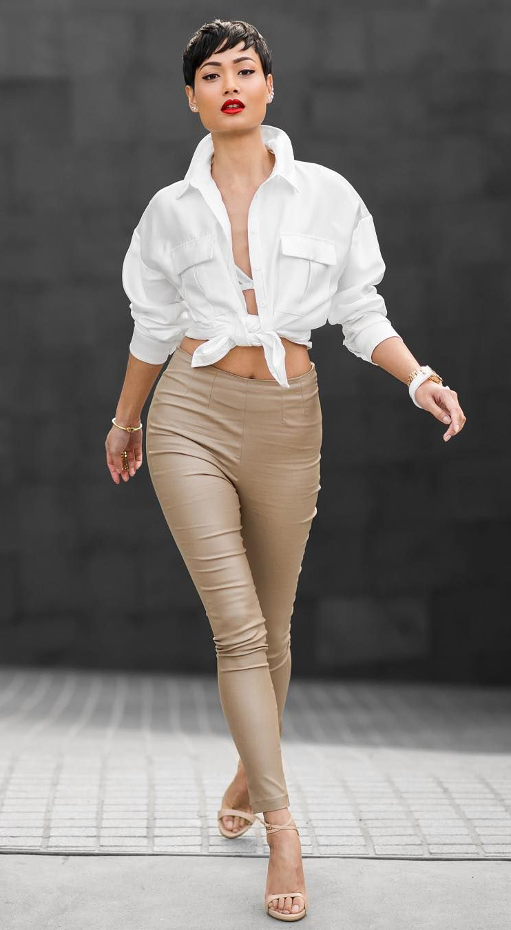 tan-leggings-white-collared-shirt-tied-brun-studs-white-bralette-tan-shoe-sandalh-spring-summer-dinner.jpg