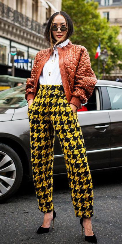 yellow-joggers-pants-white-collared-shirt-camel-jacket-bomber-brun-sun-black-shoe-pumps-houndstooth-print-fall-winter-lunch.jpg
