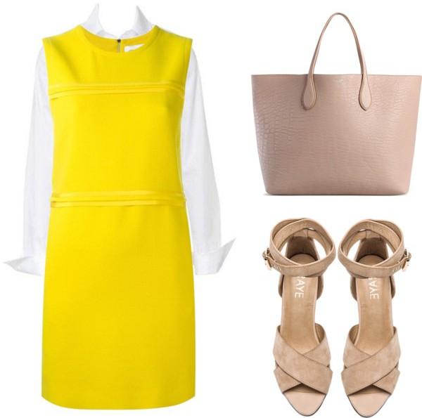 yellow-dress-shift-tan-shoe-sandalh-tan-bag-tote-white-collared-shirt-spring-summer-work.jpg