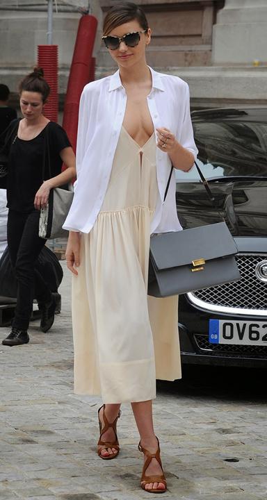 yellow-dress-white-collared-shirt-cognac-shoe-sandalh-gray-bag-sun-bun-tank-spring-summer-mirandakerr-midi-hairr-lunch.jpg