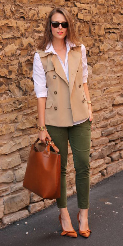 green-olive-skinny-jeans-white-collared-shirt-cognac-bag-tote-cognac-shoe-pumps-blonde-tan-vest-utility-fall-winter-lunch.jpg