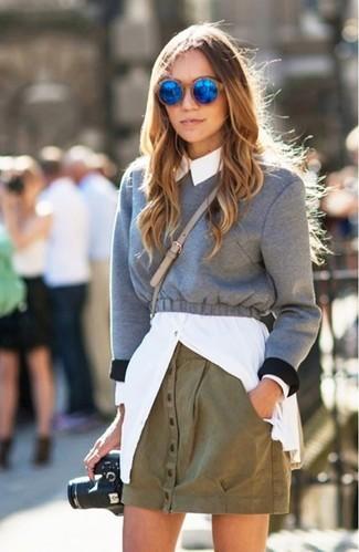 green-olive-mini-skirt-white-collared-shirt-grayl-sweater-sweatshirt-sun-layer-fall-winter-blonde-lunch.jpg