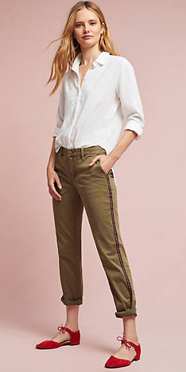 green-olive-chino-pants-white-collared-shirt-red-shoe-flats-fall-winter-blonde-lunch.jpg