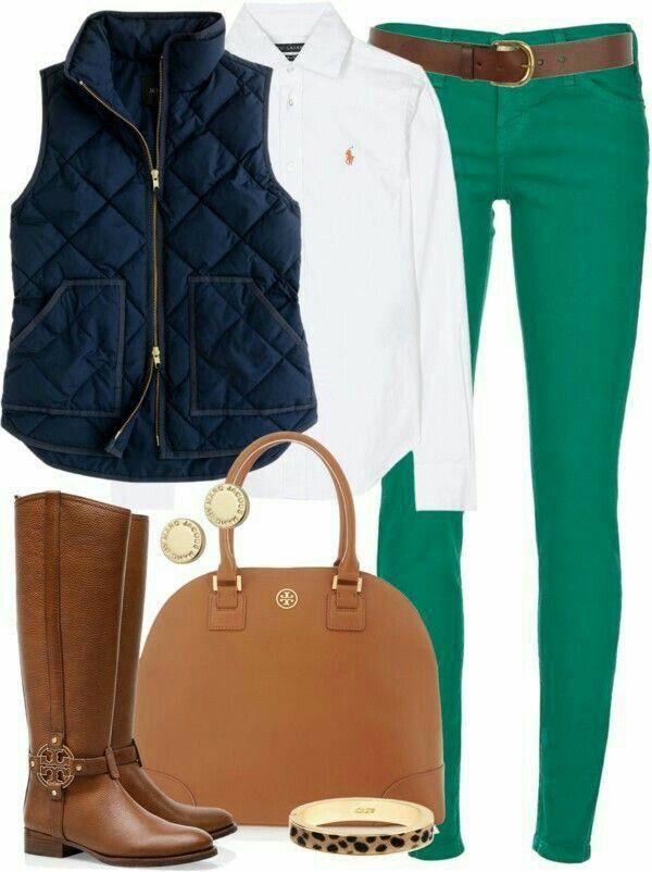 green-emerald-skinny-jeans-white-collared-shirt-blue-navy-vest-puffer-cognac-bag-studs-bracelet-cognac-shoe-boots-belt-howtowear-fashion-style-outfit-fall-winter-weekend.jpg