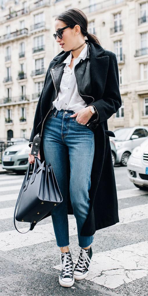 blue-med-skinny-jeans-white-collared-shirt-black-bag-black-shoe-sneakers-choker-black-jacket-coat-brun-pony-sun-fall-winter-weekend.jpg
