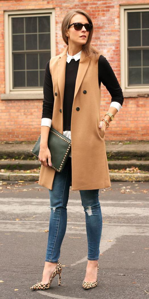 blue-med-skinny-jeans-tan-shoe-pumps-leopard-print-black-sweater-white-collared-shirt-sun-blonde-camel-vest-tailor-fall-winter-lunch.jpg