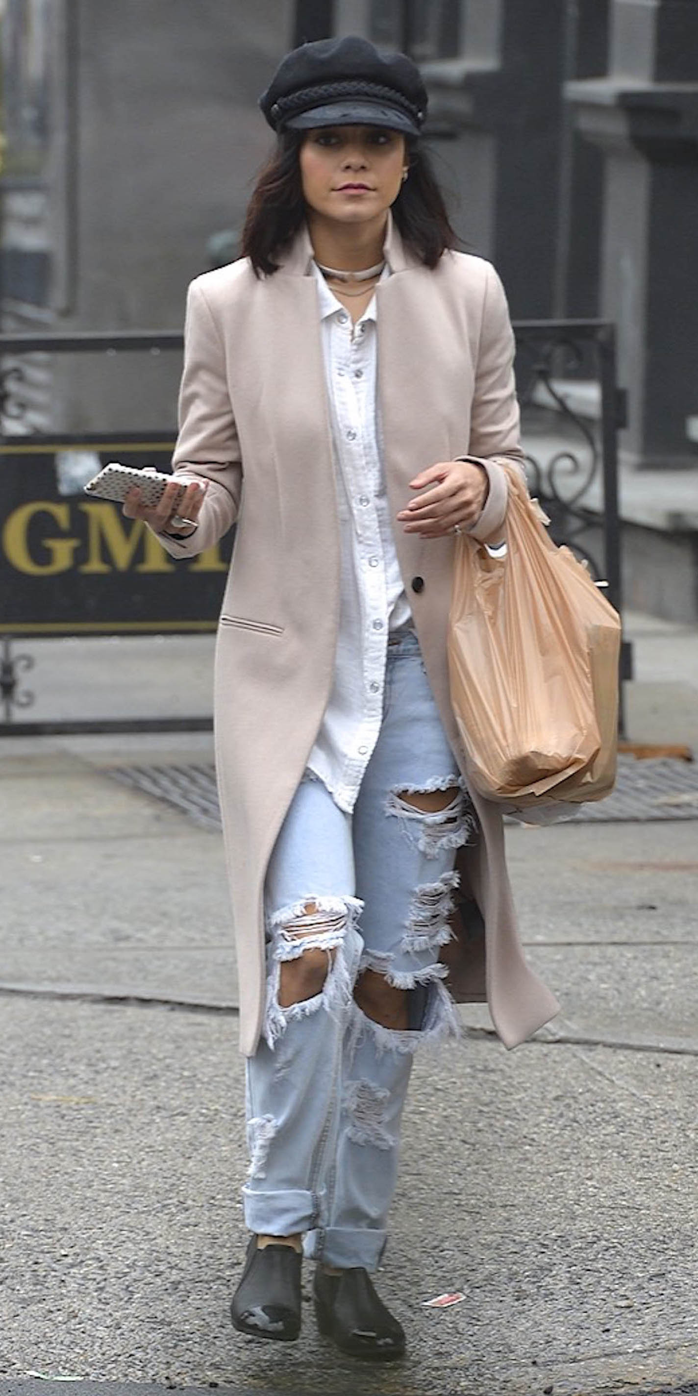 blue-light-boyfriend-jeans-white-collared-shirt-tan-jacket-coat-hat-lob-black-shoe-booties-brun-fall-winter-vanessahudgens-lunch.jpg