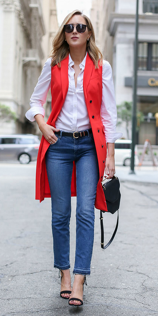 blue-med-skinny-jeans-white-collared-shirt-belt-blonde-sun-black-shoe-sandalh-orange-vest-tailor-spring-summer-work.jpg