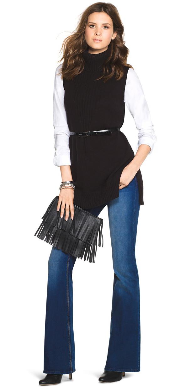 blue-navy-flare-jeans-skinny-belt-white-collared-shirt-layer-black-sweater-sleeveless-black-shoe-booties-hairr-fall-winter-lunch.jpg