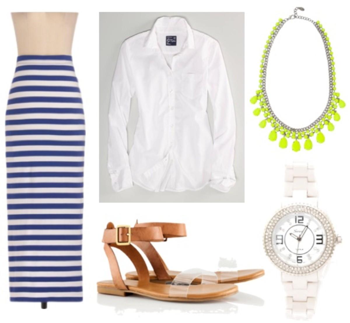 white-collared-shirt-bib-necklace-watch-stripe-tan-shoe-sandals-blue-med-maxi-skirt-spring-summer-lunch.jpg