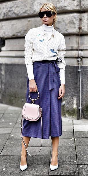 purple-royal-midi-skirt-white-collared-shirt-white-tee-turtleneck-white-shoe-pumps-blonde-pony-pink-bag-layer-fall-winter-lunch.jpg
