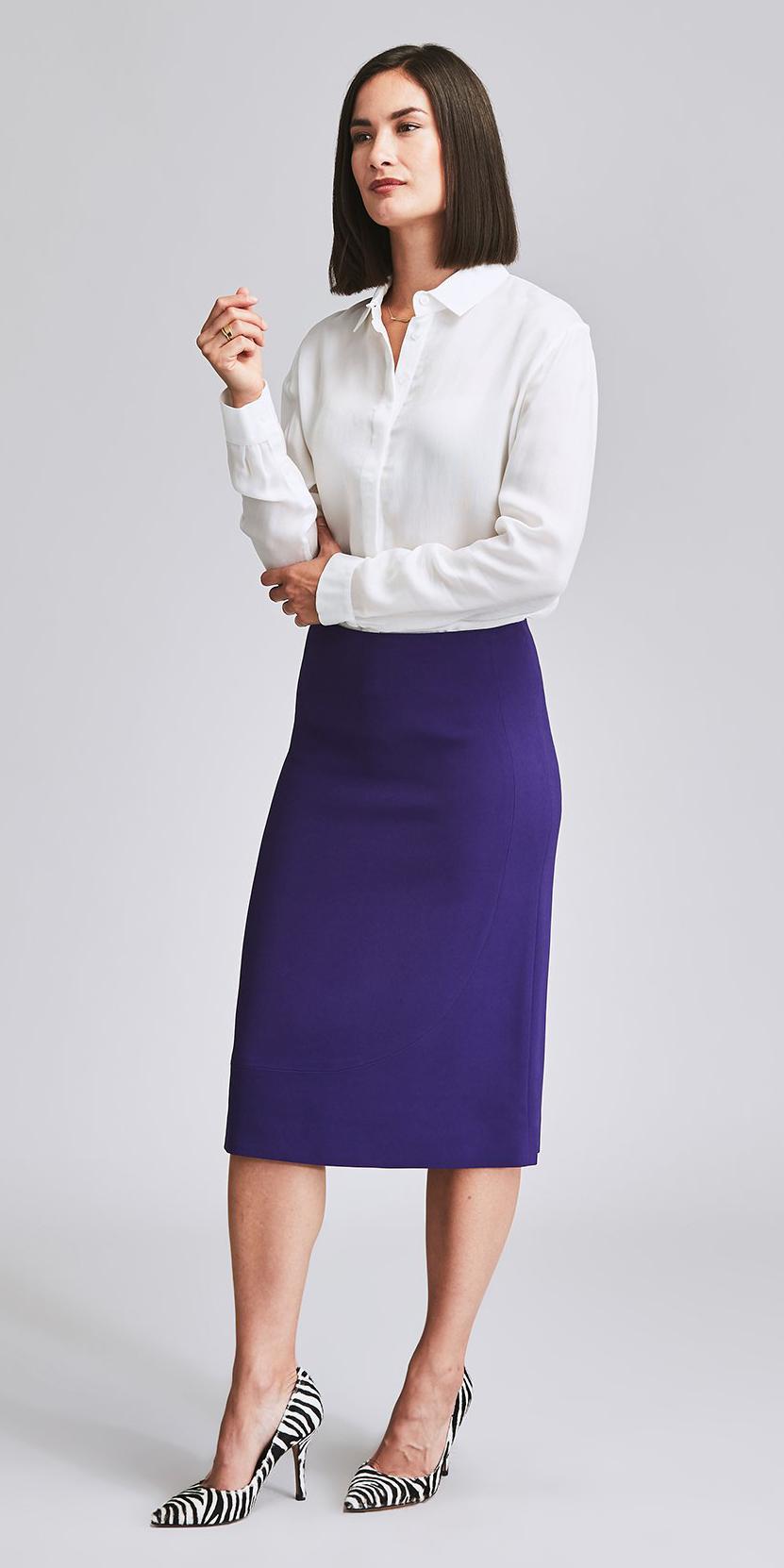 purple-royal-pencil-skirt-white-collared-shirt-white-shoe-pumps-brun-lob-spring-summer-work.jpg