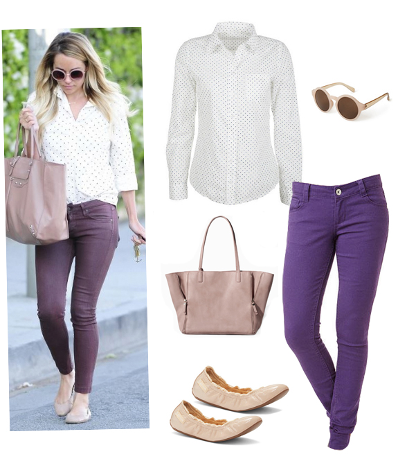 purple-royal-skinny-jeans-white-collared-shirt-tan-shoe-flats-sun-tan-bag-tote-dot-print-howtowear-fashion-style-outfit-spring-summer-blonde-lunch.jpg