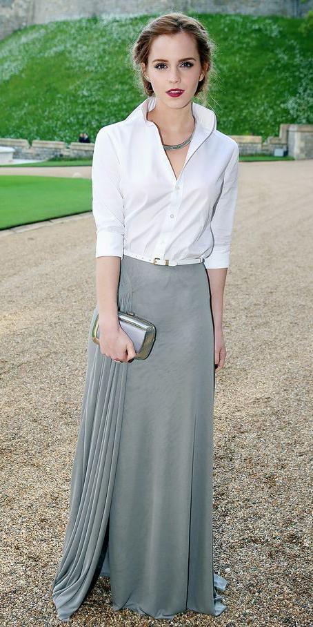 grayl-maxi-skirt-white-collared-shirt-necklace-belt-hairr-fall-winter-emmawatson-wedding-dinner.jpg