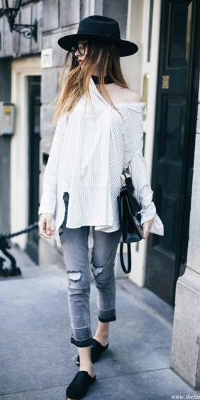 grayl-skinny-jeans-white-collared-shirt-black-shoe-flats-wear-fashion-style-fall-winter-hat-choker-hairr-weekend.jpg