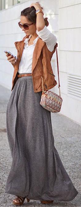 white-collared-shirt-hairr-bun-sun-skinny-belt-camel-vest-moto-grayl-maxi-skirt-fall-winter-lunch.jpg