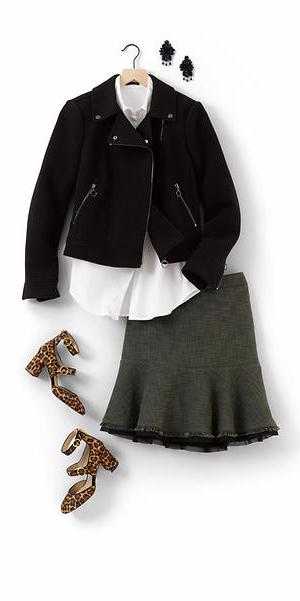 grayd-aline-skirt-white-collared-shirt-earrings-tan-shoe-pumps-leopard-print-black-jacket-moto-fall-winter-work.jpg