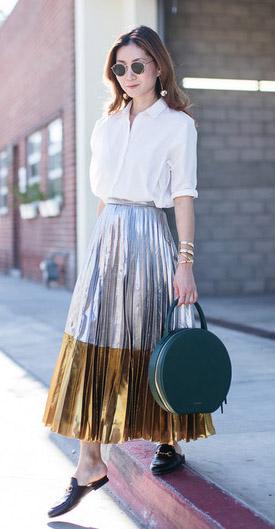 grayl-midi-skirt-silver-gold-pleated-white-collared-shirt-green-bag-earrings-black-shoe-loafers-brun-fall-winter-lunch.jpg