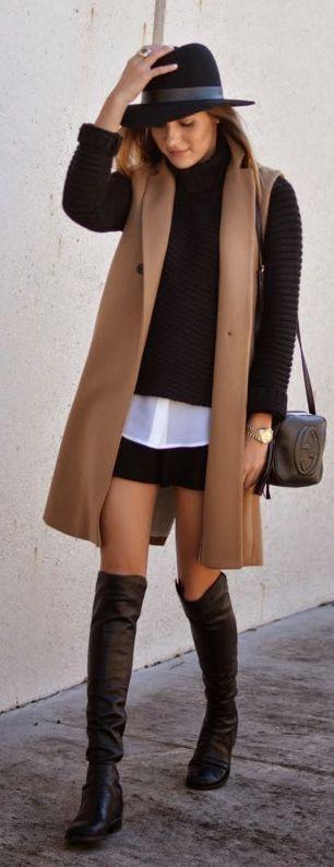 black-mini-skirt-white-collared-shirt-layer-black-sweater-hat-hairr-camel-vest-tailor-black-bag-black-shoe-boots-fall-winter-lunch.jpg