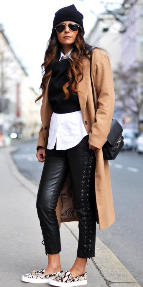 black-skinny-jeans-leather-white-collared-shirt-black-sweater-layer-sun-beanie-tan-jacket-coat-hairr-black-bag-white-shoe-sneakers-snakeskin-slides-fall-winter-lunch.jpg