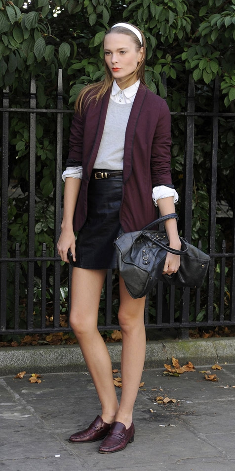 black-mini-skirt-white-collared-shirt-grayl-sweater-burgundy-shoe-loafers-head-blonde-burgundy-jacket-blazer-fall-winter-lunch.jpg