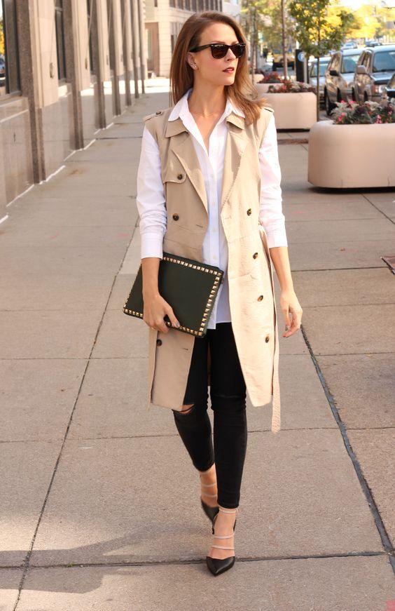 black-skinny-jeans-white-collared-shirt-hairr-sun-black-bag-clutch-black-shoe-pumps-tan-vest-utility-trench-fall-winter-lunch.jpg