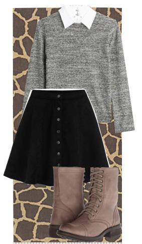 black-mini-skirt-tan-shoe-booties-white-collared-shirt-grayl-sweater-fall-winter-lunch.jpg