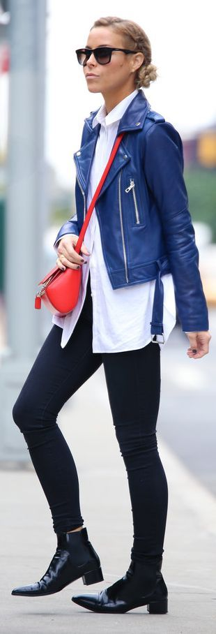 black-skinny-jeans-white-collared-shirt-red-bag-sun-bun-black-shoe-booteis-blue-navy-jacket-moto-fall-winter-blonde-lunch.jpg