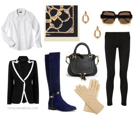 black-leggings-blue-shoe-boots-gloves-black-scarf-neck-earrings-sun-black-bag-white-collared-shirt-black-jacket-blazer-fall-winter-lunch.jpg