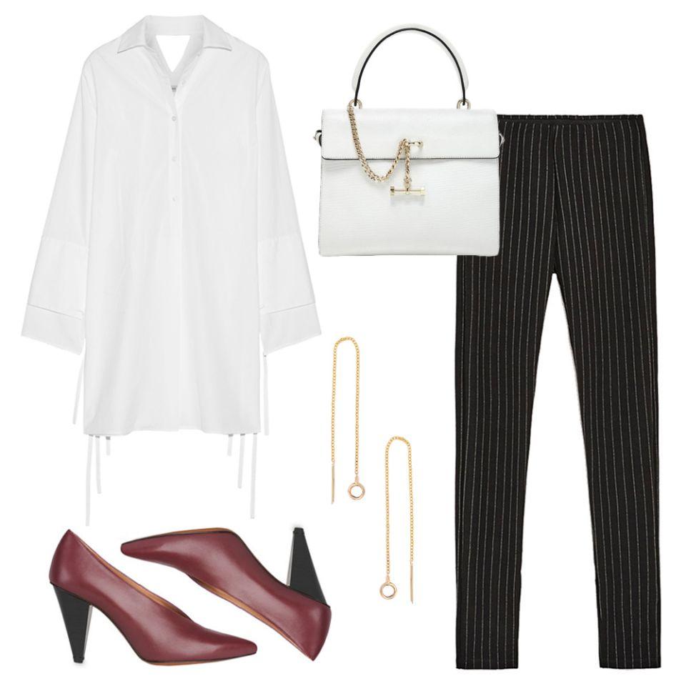 black-leggings-earrings-burgundy-shoe-pumps-pinstripe-white-collared-shirt-tunic-white-bag-fall-winter-work.jpg