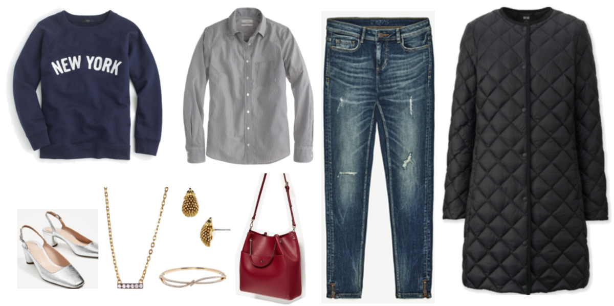 blue-navy-skinny-jeans-grayl-collared-shirt-red-bag-necklace-studs-blue-navy-sweater-sweatshirt-graphic-black-jacket-coat-gray-shoe-pumps-fall-winter-lunch.jpg