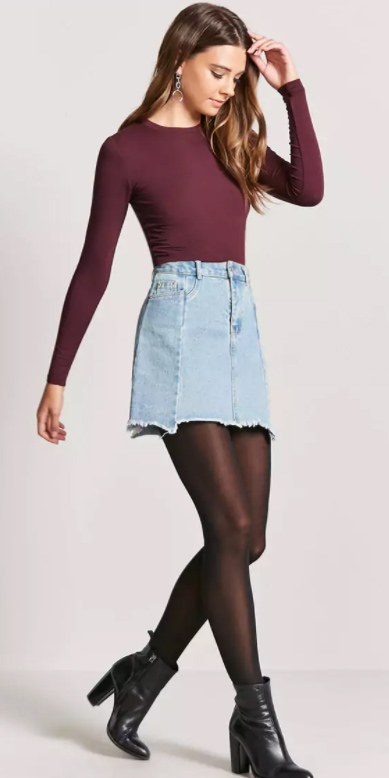 blue-light-mini-skirt-denim-black-tights-black-shoe-booties-burgundy-tee-earrings-fall-winter-hairr-lunch.jpg
