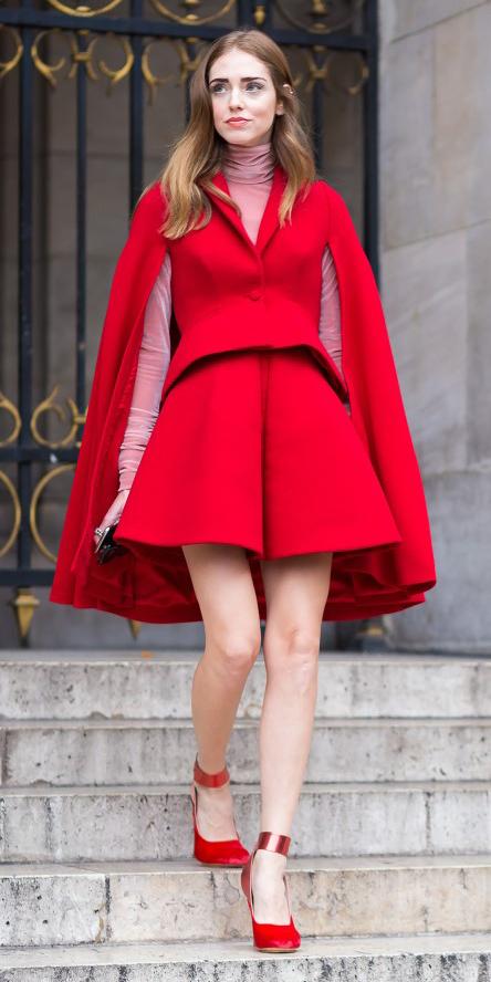red-shorts-match-set-pink-light-tee-turtleneck-red-jacket-coat-cape-hairr-red-shoe-pumps-tonal-fall-winter-dinner.jpg