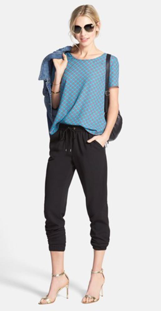 black-joggers-pants-blue-med-tee-pony-sun-black-bag-blue-med-jacket-jean-tan-shoe-sandalh-sweats-wear-style-fashion-spring-summer-blonde-lunch.jpg