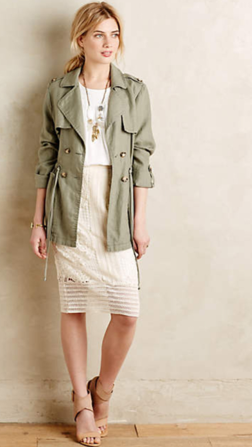 white-pencil-skirt-white-tee-pony-necklace-anthropologie-howtowear-style-fashion-spring-summer-green-olive-jacket-coat-trench-tan-shoe-sandalh-blonde-lunch.jpg