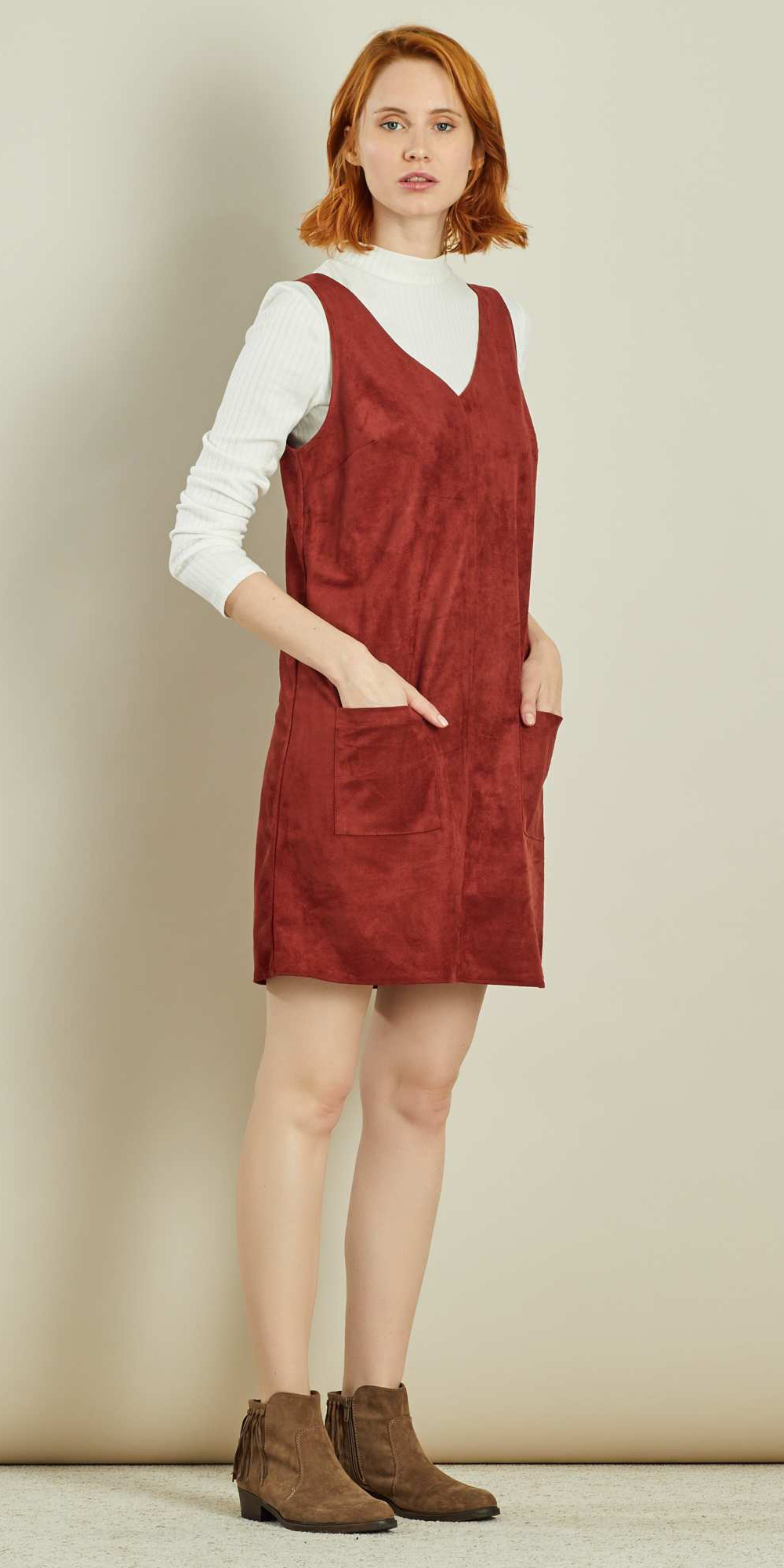 red-dress-jumper-white-tee-layer-hairr-bob-cognac-shoe-booties-fall-winter-weekend.jpg