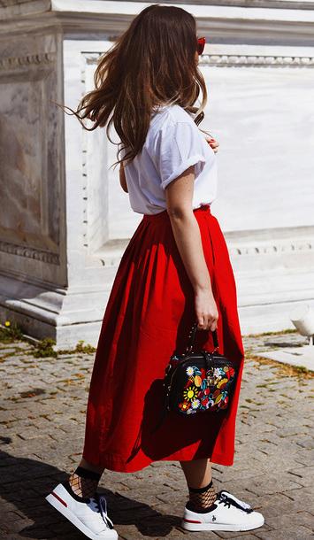 red-midi-skirt-black-bag-white-shoe-sneakers-socks-fishnets-white-tee-hairr-spring-summer-weekend.jpg