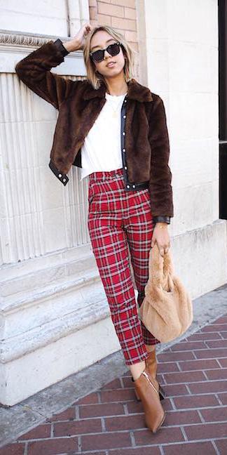 red-slim-pants-plaid-white-tee-tan-bag-cognac-shoe-booties-brown-jacket-fur-blonde-sun-fall-winter-weekend.jpg