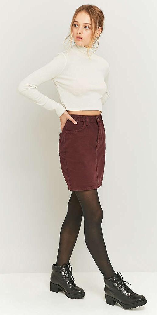 r-burgundy-mini-skirt-white-tee-crop-bun-black-tights-howtowear-fashion-style-outfit-fall-winter-black-shoe-booties-turtleneck-corduroy-blonde-weekend.jpg