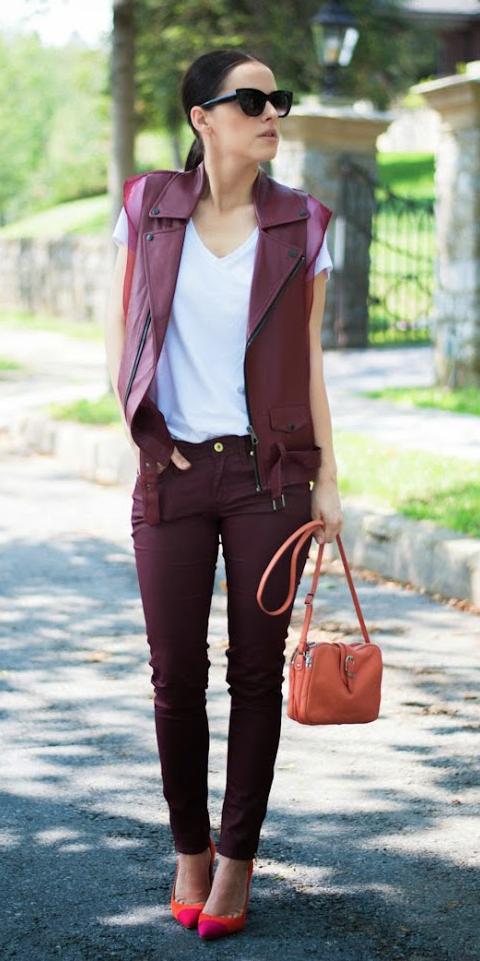 burgundy-skinny-jeans-white-tee-brun-pony-sun-orange-bag-orange-shoe-pumps-burgundy-vest-moto-spring-summer-dinner.jpg
