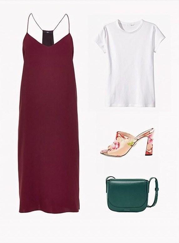 burgundy-dress-slip-white-tee-green-bag-tan-shoe-sandalh-mules-howtowear-fall-winter-lunch.jpg