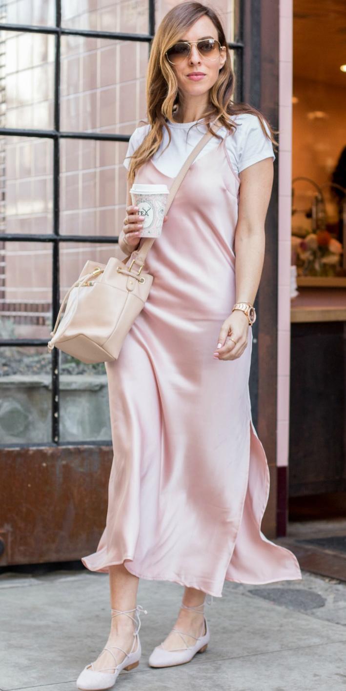 pink-light-dress-slip-white-tee-tan-bag-sun-pink-shoe-flats-howtowear-spring-summer-hairr-weekend.jpg