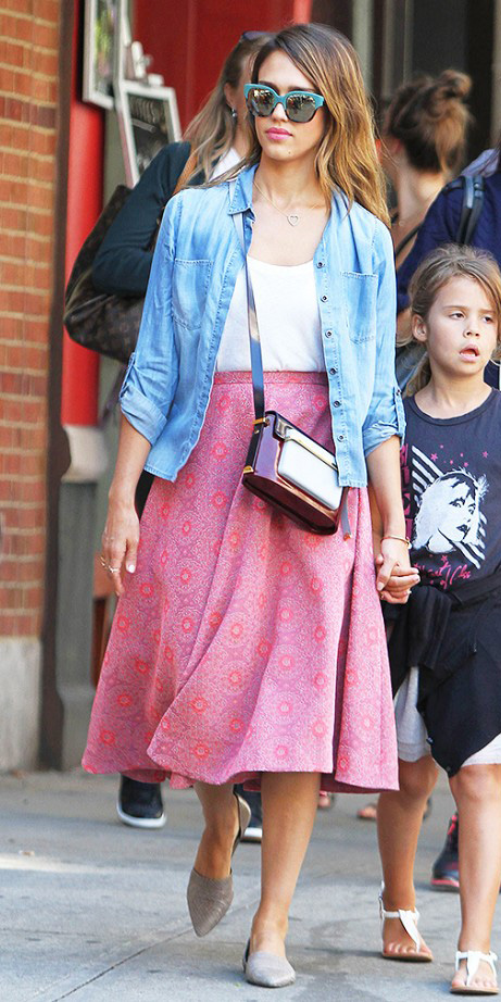 pink-magenta-midi-skirt-white-tee-blue-light-collared-shirt-spring-summer-hairr-weekend.jpg