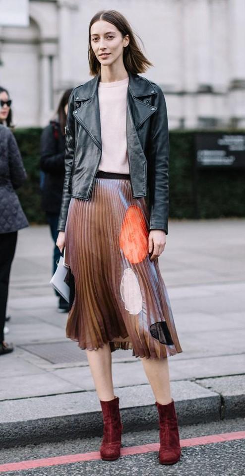 camel-midi-skirt-pleated-print-white-tee-black-jacket-moto-hairr-burgundy-shoe-booties-fall-winter-lunch.jpg