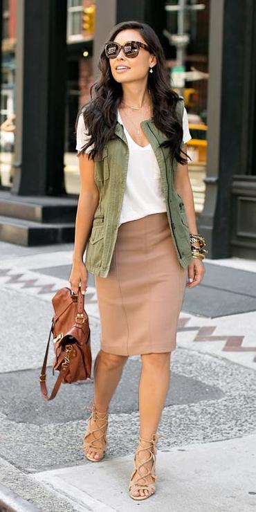 tan-pencil-skirt-white-tee-brun-sun-cognac-bag-tan-shoe-sandalh-green-olive-vest-utility-spring-summer-lunch.jpg